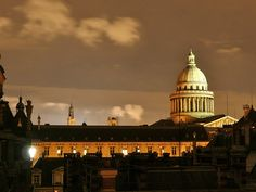 Evening view of the Sorbonne and the Panthéon from rooms on the top floor at the Design Sorbonne Hotel in Paris
