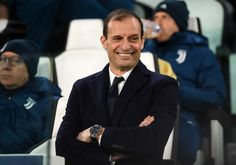 Massimiliano Allegri, Coach of Juventus looks on prior to the UEFA Champions League Round of 16 First Leg match between Juventus and Tottenham Hotspur at Allianz Stadium on February 13, 2018 in Turin, Italy.