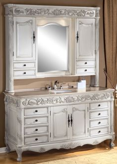 antique bathroom vanities made from hutches | ... Vanity | Single Sink Vanity | Antique Ivory Vanity | Vanity with Hutch