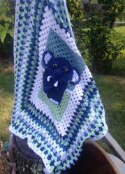 Elephant Granny Square Crocheted Blanket