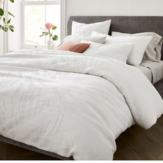 Rippled Tencel Cotton Matelasse Duvet, Full/Queen, Stone White | West Elm