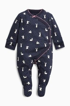 Buy Pink/Navy Bunny Wrap Sleepsuits Two Pack (0mths-2yrs) from the Next UK online shop