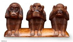 Wood statuette, 'Three Wise Monkeys' by NOVICA