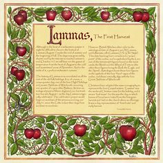 The page of the Lammas section of my Illustrated Book of Shadows, [link] for August The page border was created in Photoshop CS 5 extended and Pa. Book of Shadows, Apple Magic Mabon, Samhain, Autumnal Equinox, Autumn Harvest, The Embrace, Practical Magic, Beltane, Apple Magic, Summer Solstice
