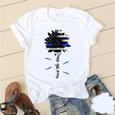 Police Shirts, Blue T, Thin Blue Lines, Cute Casual Outfits, Cute Shirts, Daily Wear, T Shirts For Women, Hoodies, My Style