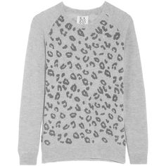Zoe Karssen Leopard-print wool and cashmere-blend sweater (7.300 RUB) ❤ liked on Polyvore featuring tops, sweaters, light gray, leopard top, leopard print sweater, leopard print top, zoe karssen and wool cashmere sweater
