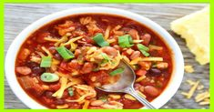 Slow Cooker Turkey Chili - this healthy turkey chili is loaded with beans, veggies, and lean turkey. Just throw in the ingredients, and walk away, and come back to dinner. Easy crockpot turkey chili is perfect for a chilly (and busy) day! Ww Recipes, Chili Recipes, Turkey Recipes, Slow Cooker Recipes, Crockpot Recipes, Soup Recipes, Cooking Recipes, Recipies, Quiche Recipes