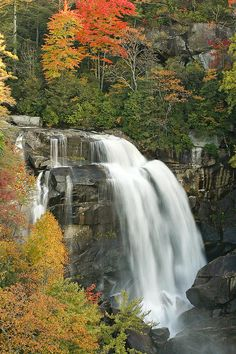North Carolina's White Water Falls In Autumn Photograph by Bill Swindaman