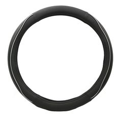 KM World Black 14.5-15 Inch Rubber Steering Wheel Cover with White rubber and PU Leather Hand Placements, Fits Nissan Versa