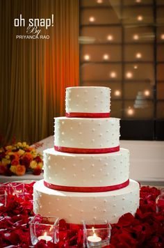 Simple and pretty red and white wedding cake, Priyanca Rao Photography #weddingcake