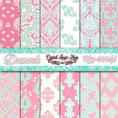 Shabby Chic Fleur de lis Digital Papers Pack  - pink and blue - 12 pcs 300dpi (paper crafts, card making, scrapbooking)