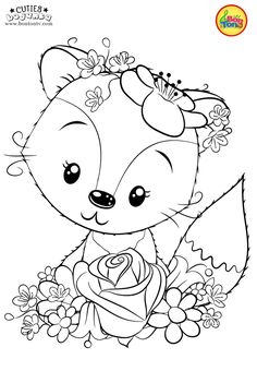 Cuties Coloring Pages for Kids - Free Preschool Printables - Slatkice Bojanke - Cute Animal Coloring Books by BonTon TV Free Adult Coloring, Coloring Sheets For Kids, Cute Coloring Pages, Animal Coloring Pages, Free Printable Coloring Pages, Coloring Books, Printable Animals, Hand Embroidery Patterns, Digi Stamps
