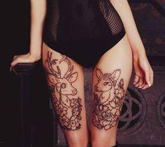 Adorable Legs Tattoos #deer #bambi #girly