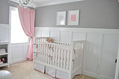 Board and batten in gray and pink nursery