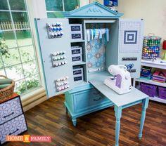 25 New Ideas Sewing Machine Cabinet Ideas Craft Storage Diy Jewelry Armoire Plans, Craft Armoire, Craft Cabinet, Sewing Cabinet, Cabinet Ideas, Cabinet Storage, Craft Storage Cabinets, Tv Armoire, Sewing Room Organization