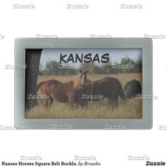 Kansas Horses Square Belt Buckle. Rectangular Belt Buckle