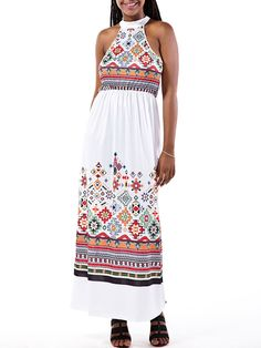 Description:     Neckline:Halter   Sleeve Length  :Sleeveless   Color:White   Pattern:Bohemia Print   Style:Casual   Length:Long   Material:Polyester      Package included:  1*Jumpsuits