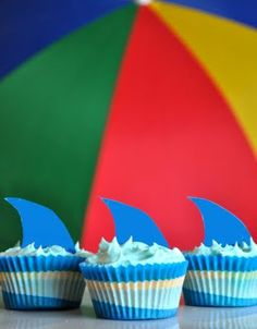 Pool Party Cupcakes - The best Pina Colada Cupcake Recipe Themed Cupcakes, Cute Cupcakes, Beach Cupcakes, Decorated Cupcakes, Cupcake Party, Cupcake Cakes, Cup Cakes, Shark Fin Cupcakes, Sommer Pool Party