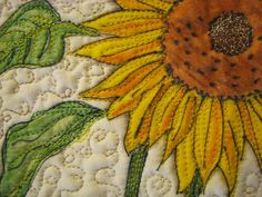 awesome sunflower art quilt details