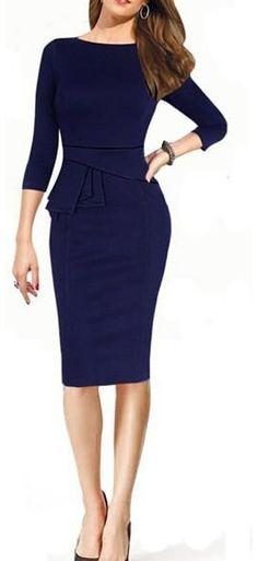 Blue Long Sleeve Peplum Waist Slim Dress