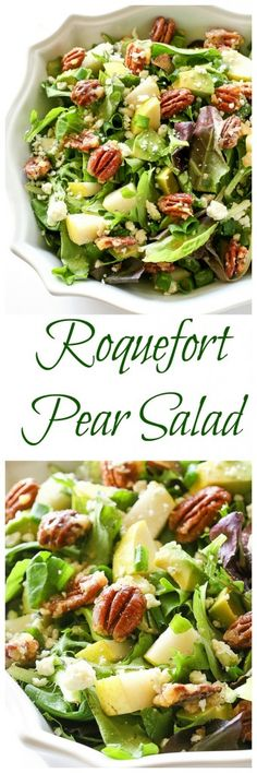 Roquefort Pear Salad - one of my favorite salads topped with candied pecans! the-girl-who-ate-everything.com Green Salad Recipes, Delicious Salad Recipes, Winter Salad Recipes, Vegetarian Salad Recipes, Side Salad Recipes, Vegetarian Keto, Salad Dressing Recipes, Yummy Food, Radish Recipes