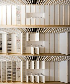 wooden slats and longitudinal closet that unifies the perimeter and storage aid for Oak how room
