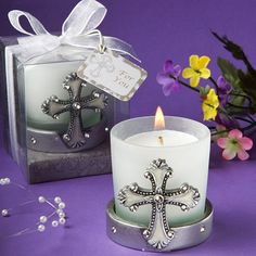 Vintage Pewter Resin Cross Votive Candle Wedding Favors
