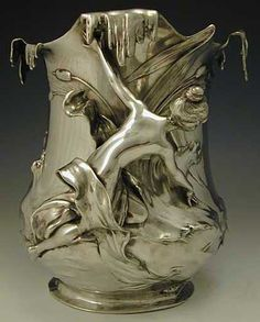 WMF Polished Pewter Art Nouveau Champagne Bucket, Germany circa 1906. Marked to base.