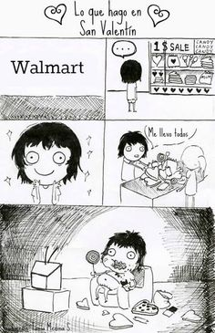 Comic que ilustra la lógica femenina chica en san valentin