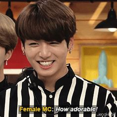 """Namjoon gave this long spiel about himself then jungkook just said """"hello, I'm jungkook"""""""