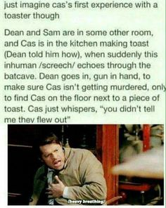 Don't read this in public. Everyone will look at you funny. I promise you. I made the mistake Supernatural Bloopers, Supernatural Tattoo, Supernatural Imagines, Supernatural Wallpaper, Supernatural Destiel, Castiel, Misha Collins, Jensen Ackles, The Lord