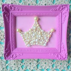 Vintage pearls Princess crown mosaic art