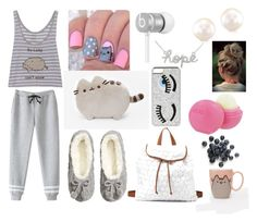 """Lazy Pusheen Outfit"" by bell5400 on Polyvore featuring H&M, Charlotte Russe, OPI, Chiara Ferragni, Beats by Dr. Dre and Eos"