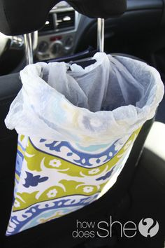 DIY sewn car trash bag.