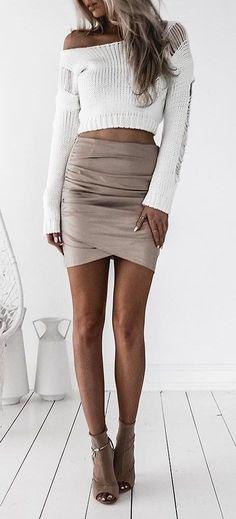 cute ootd: top + skirt + heels