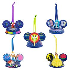 """If you are a fan of the new """"Paint the Night"""" parade, which debuted as part of the Disneyland Resort Diamond Celebration, then keep reading because I have no doubt that you will want to add this new ear hat ornament set to your collection! Disney Ears Hat, Mickey Ears, Disney Ornaments, Holiday Ornaments, Ornaments Ideas, Disney Fanatic, Disney Addict, Tokyo Disneyland, Disneyland Resort"""