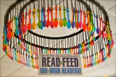 Two Large CIrcles of Colorful Spoons Suspended From the Cieling With Read to Feed: 100 Hour Readers Ar Reading, Reading Incentives, Reading Themes, Reading Goals, 5th Grade Reading, Reading Intervention, Reading Challenge, Teaching Reading, New Classroom