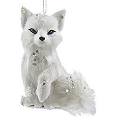 """White and Silver Frosted Kingdom Plush Sitting Fox Christmas Ornaments 4"""" White Christmas Ornaments, Christmas Tree Decorations, Wings Design, Winter Light, White Feathers, Hanging Ornaments, Frost, Plush, Silver"""