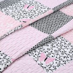 Shop for Cozy Line Emerson Patchwork Reversible Cotton Quilt Set - Black/Pink/White. Baby Quilts Easy, Baby Girl Quilts, Girls Quilts, Butterfly Quilt Pattern, Patchwork Quilt Patterns, Diy Christmas Tree Skirt, Black And White Quilts, Rag Quilt, Quilt Top