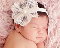 Ivory Lace Flower baby Headband Pearl by ChiCrystalsBoutique, $12.99