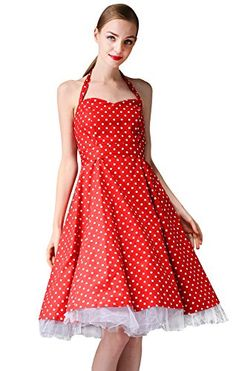 Vintage 1950s Polka Dots Swing Rockabilly Party Halter Prom Dress (US4, Red) Penelope Vintage http://www.amazon.com/dp/B00OBLPFJA/ref=cm_sw_r_pi_dp_RZVrub1XZPD9A
