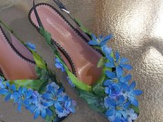 Leafy Green and Blue Flower Fairy Shoes, Adult Fairy Costume, Cosplay Shoes, Wedding Flower Footwear, Bridal Slippers, Elf Slippers by FairyFlowerDreams on Etsy