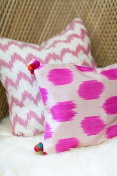 amber interior design, amber lewis, ikat pillow with pom poms, zig zag ikat pillow, sheepskin