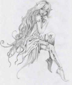 Most Popular Tattoos Tattoo-B Assessment. Fairy Drawings, Cute Drawings, Fantasy Kunst, Fantasy Art, Elfen Tattoo, Fairy Tattoo Designs, Music Tattoo Designs, Fairy Sketch, Fairy Coloring Pages