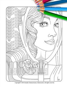 Mirror Mirror  Digital Download Adult Coloring by ModernColoring