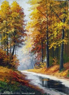 """The Autumn In The Park"" - oil, canvas http://www.russianfineart.co/catalog/prod.php?productid=21161 Artist: Yanulevich Gennady"