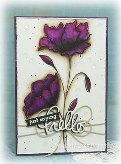 "On this card, I double cut the ""hello"" die in black and white, heat embossed the ""just saying"" stamp with white powder onto black cardstock for contrast, then spot-glued them both to the twine bows using liquid glue... - In My Little Korner"