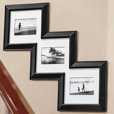 Cool, I like this idea - keeps stairway pictures aligned. Stairway Pictures, Photo Displays, Stairways, My Dream Home, Home Projects, Home Staging, Home Improvement, Sweet Home, Gallery Wall