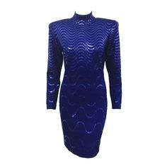 1980s St. John by Marie Gray Long Sleeve Royal Blue Knit Cocktail Sheath   From a collection of rare vintage day dresses at https://www.1stdibs.com/fashion/clothing/day-dresses/