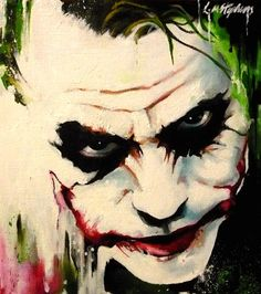 Joker abstract by sullen-skrewt on deviantART~~~~wicked Der Joker, Heath Ledger Joker, Joker Art, Joker Painting, Oil Painting Abstract, Painting Canvas, Comic Books Art, Comic Art, Tattoo Crane